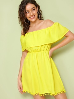 Neon Yellow Pompom Hem Bardot Dress