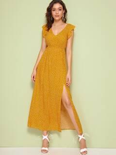 Plunging Neck Ruffle Armhole High Split Dress