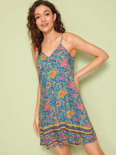 Floral and Tribal Print Cami Dress