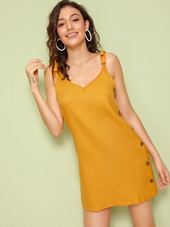 Button Detail Knotted Strap Double V Neck Dress