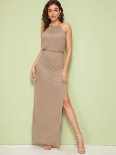 Solid Split Thigh Halterneck Maxi Dress