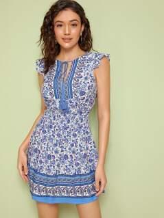 Fringe Tie Front Tribal Print Sleeveless Dress
