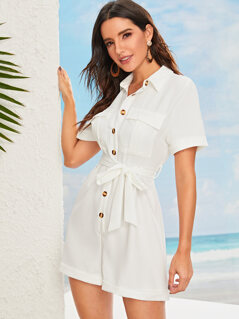 Flap Pocket Front Rolled Cuff Utility Romper