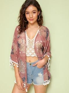 Tassel Hem Floral Print Kimono