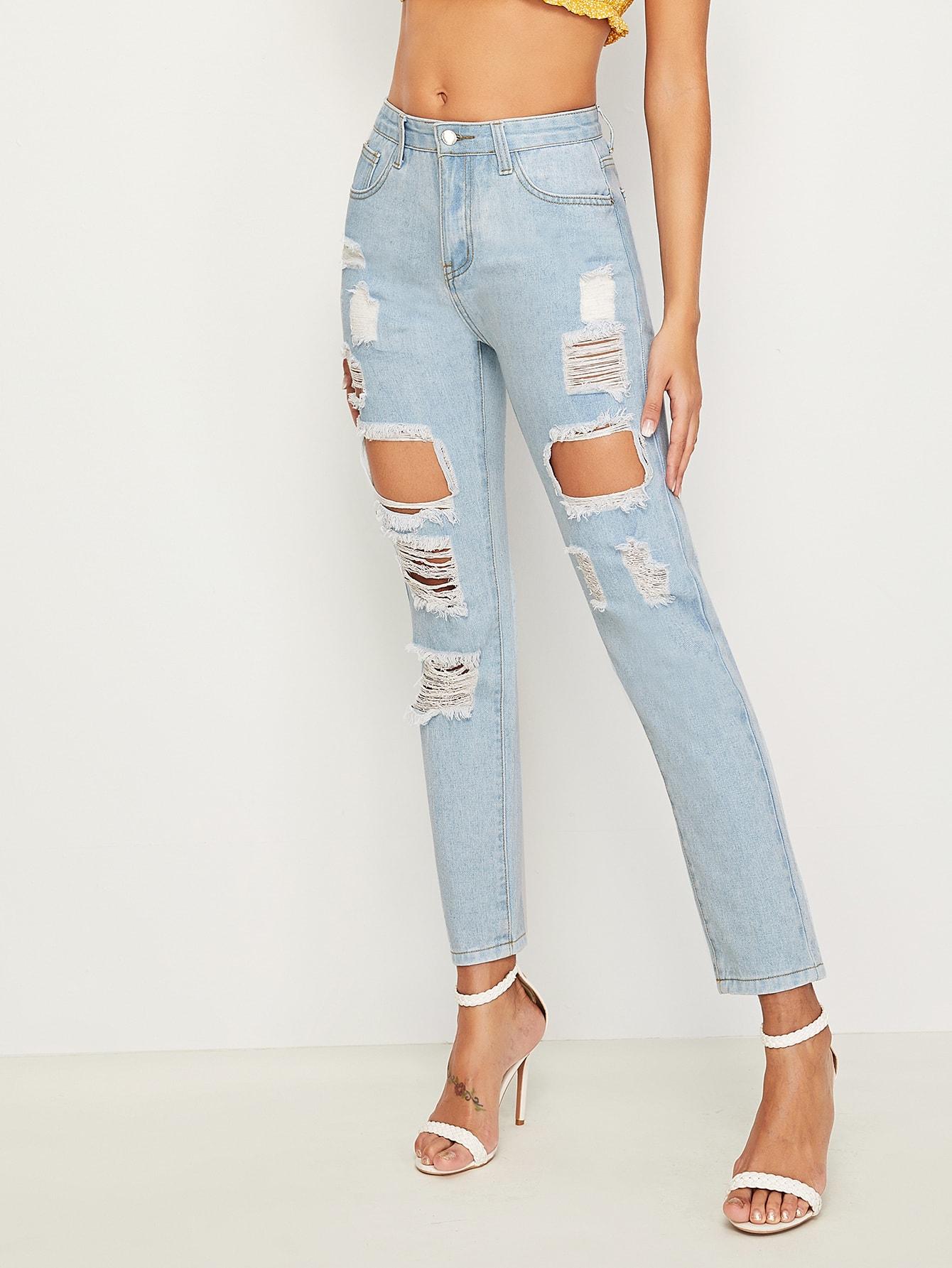 Фото - Модные рваные джинсы от SheIn синего цвета