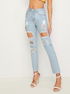 Bleach Wash Ripped Detail Jeans