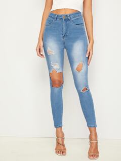 Bleach Wash Ripped Detail Skinny Jeans