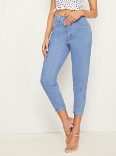 Bleach Wash Crop Tapered Jeans