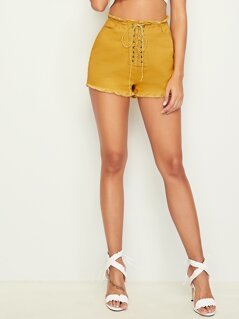 Lace-up Front Frayed Edge Denim Shorts
