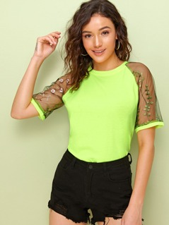 Neon Lime Embroidered Mesh Sleeve Tee