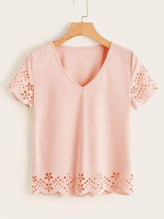 V Neck Laser Cut Scallop Hem Tee