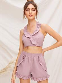 Ruffle Trim Tie Back Halter Top and Shorts Set