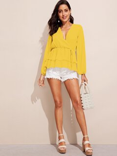 Tiered Ruffle Surplice Neck Wrap Top