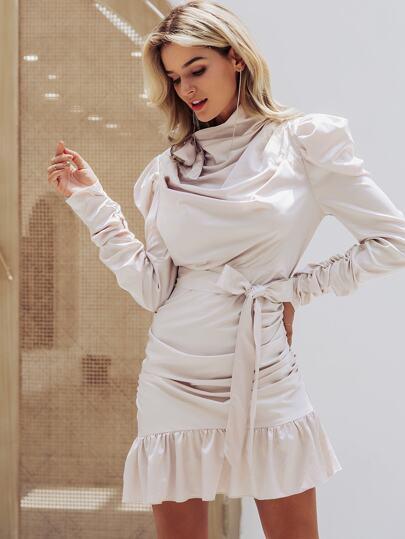 Simplee Ruffle Hem Gigot Sleeve Draped Belted Satin Dress