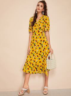 Strawberry & Flower Print Flippy Hem Wrap Knot Dress