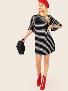 Flounce Sleeve Curved Hem Striped Dress