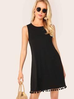 Tassel Hem Sleeveless Tunic Dress