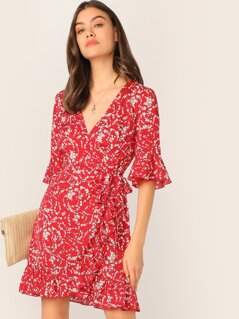 Flounce Sleeve Ruffle Trim Self Tie Wrap Dress