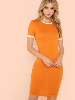 Neon Orange Form Fitted Ringer Dress