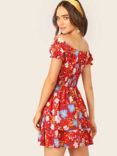 Off Shoulder Shirred Waist Floral Print Dress