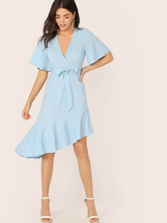 Plunging Neck Asymmetrical Ruffle Hem Belted Dress
