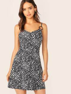 O-ring Strap Ditsy Floral Dress
