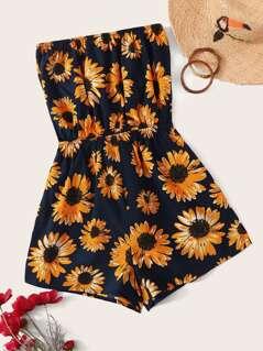 Sunflower Print Tube Romper