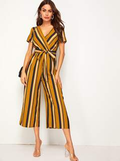 Striped Surplice Neck Belted Palazzo Jumpsuit