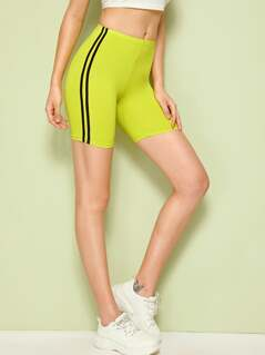Neon Lime Striped Tape Side Cycling Shorts