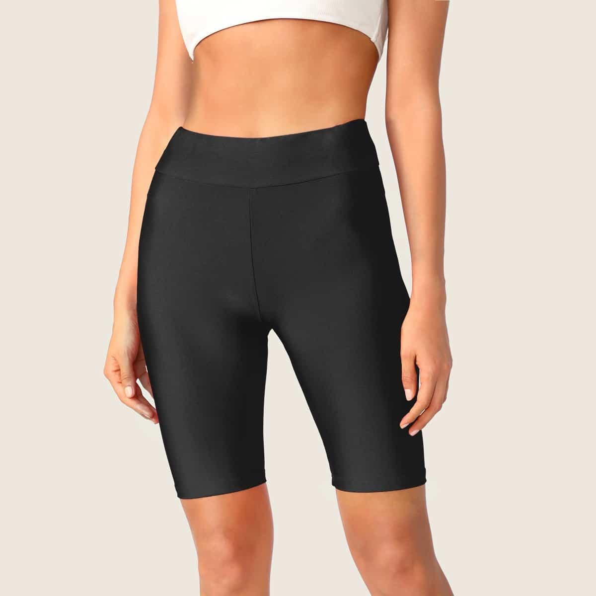SHEIN / Shorts ciclistas sólidos de cintura ancha
