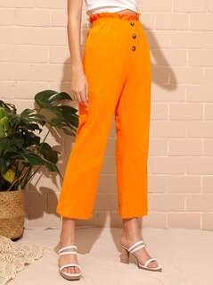 Neon Orange Frilled Waist Button Front Pants