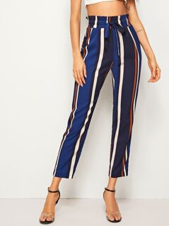 Paperbag Waist Striped Cigarette Pants
