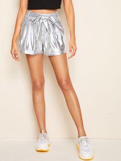 Boxy Pleated Belted Metallic Shorts