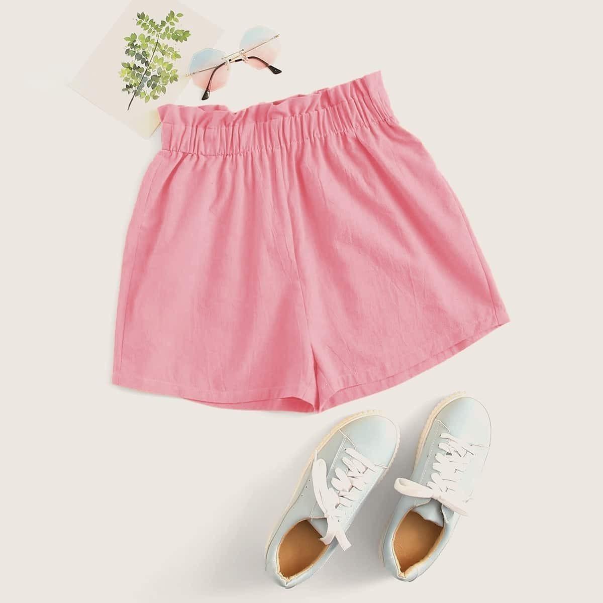 SHEIN / Shorts sólidos de cintura con volante