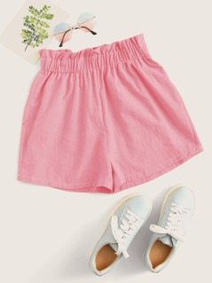 Paperbag Waist Solid Shorts