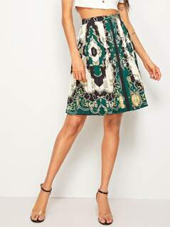 High Waist Scarf Print Pleated Skirt