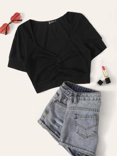 Sweetheart Neck Ruched Front Crop Tee