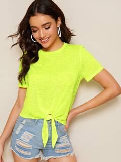 Neon Lime Knot Hem Tee