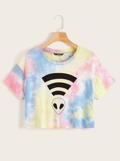 Alien Print Tie Dye Top