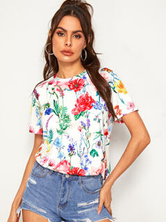 Allover Floral Print Tee