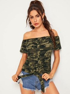 Off Shoulder Camo Print Button Front Knot Tee