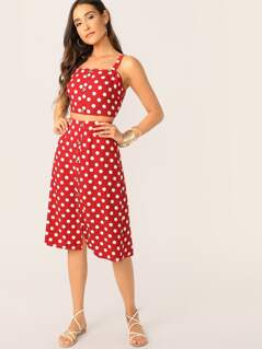 Polka Dot Button Front Crop Top and Skirt Set