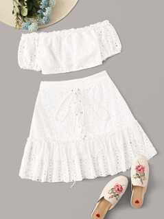 Frilled Bardot Schiffy Top and Lace-up Skirt Set