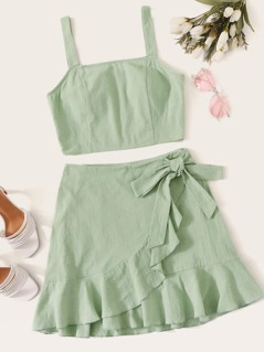 Tank Top & Ruffle Hem Wrap Skirt Set