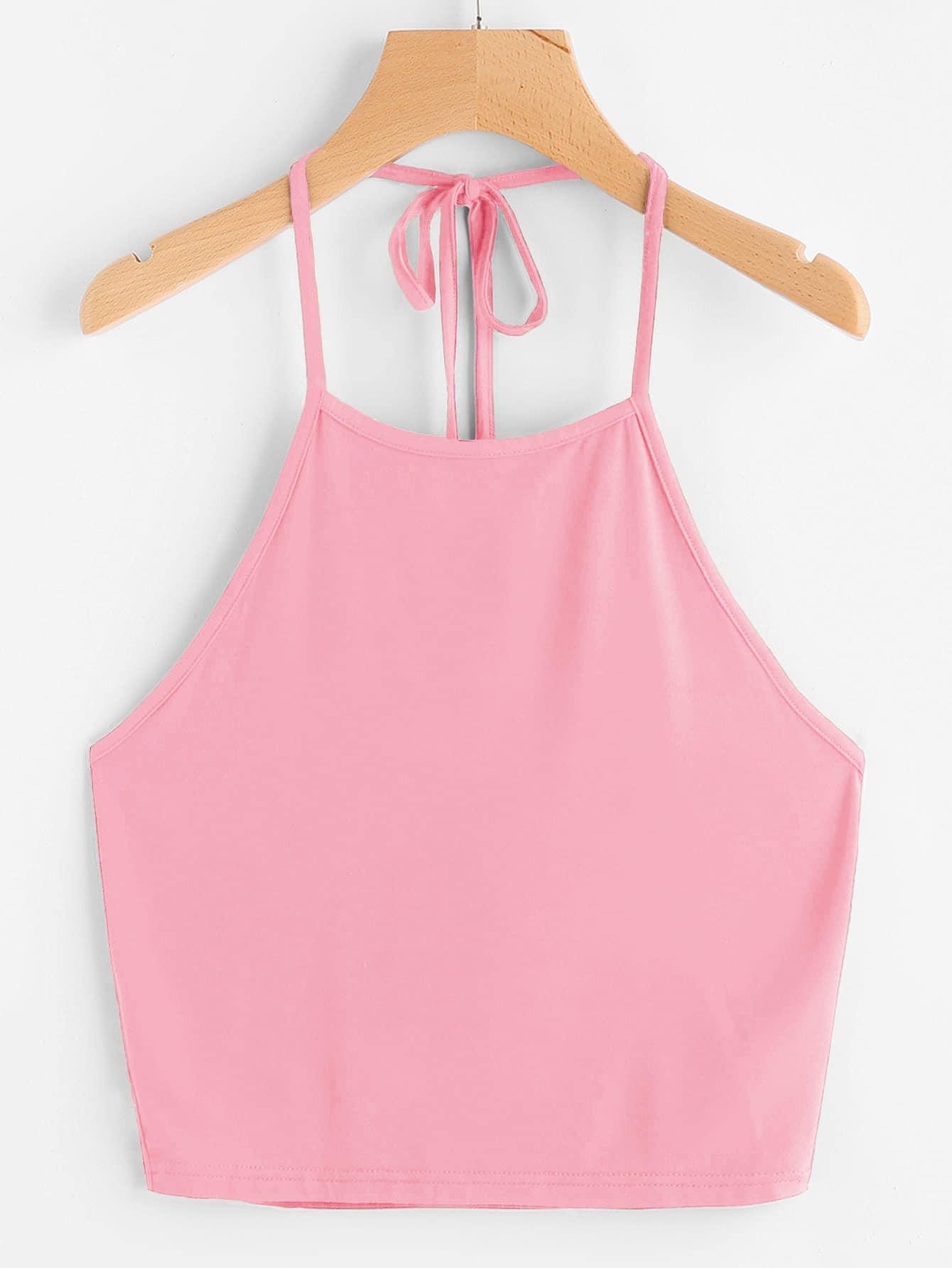 Фото - Топ-халтер с узлом сзади от SheIn розового цвета