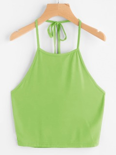 Neon Lime Tie Back Halter Crop Top
