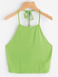 Neon Lime Tie Back Halter Crop Top