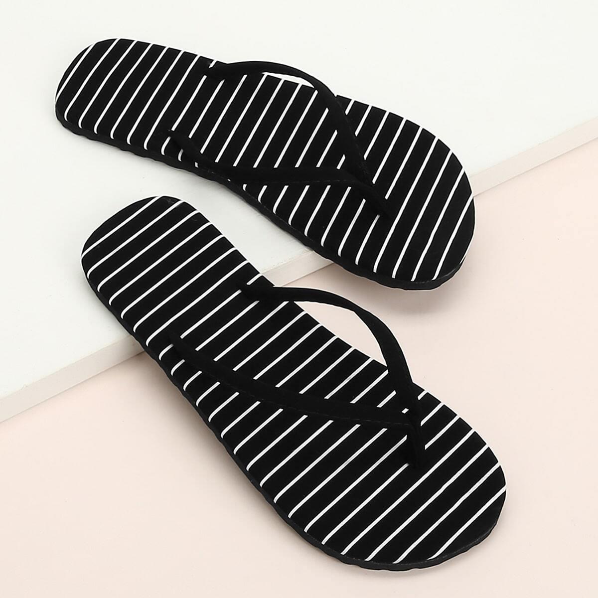 Zwart Boho Gestreept Slippers