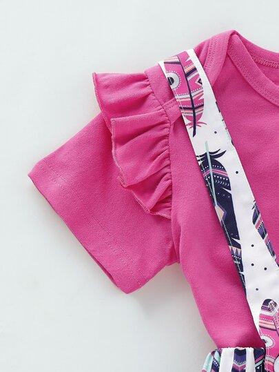 Фото 6 - Платье на кулиске с лиственным принтом от SheIn цвет многоцветный