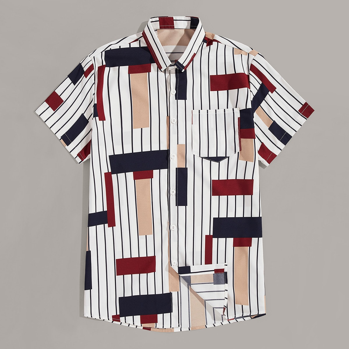 Veel kleurig Casual Geometrisch Overhemden voor heren Zak